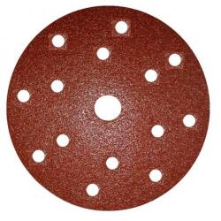 GRANA 80 - D150 - Dischi abrasivi in carta velcrata per legno e metallo 15 FORI - conf. da 50 pz