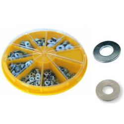 Assortimento 910 rondelle zincate bianco