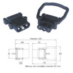Connettore bipolare serie Europa - maschio con maniglia - DIN 160 A - per cavo 50 mmq